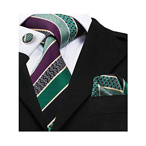 Barry.Wang Green Tie Pocket Square Cufflinks Set Silk Woven Neckties