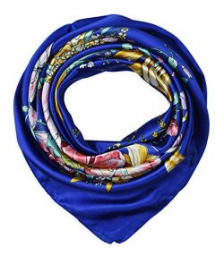 corciova 35″ Large Women's Satin Square Silk Feeling Hair Scarf Wrap Headscarf Blue  ...
