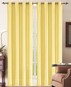 MK Imports 2 Pack, Faux Silk Window Curtain with 8 Gromets: 54″ x 84″ each panel, Yellow