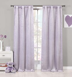LALA + BASH – Quincy Faux Silk Grommet Window Curtain 2 Panel Drapes, 37 X 84 Inch, Lavend ...