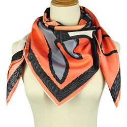 Silk Scarf Square Scarf for Hair – Pantonight 14MM Twill Horse Silk Scarf for Women (orang ...
