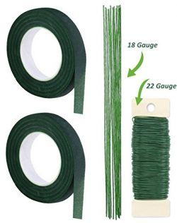 Premium Quality 1/2 Inch Floral Tape, Self-Sealing, Dark Green and Ligh Green, With Green Paddle ...