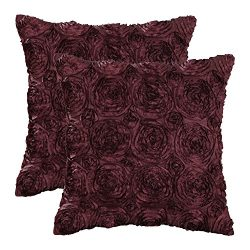 CaliTime Pack of 2 Cushion Covers Throw Pillow Cases Shells for Couch Sofa Home, Solid Stereo Ro ...