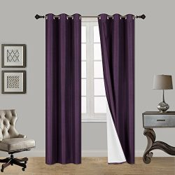 Luxury Discounts 1 Piece Thick Faux Silk Blackout Insulated Room Darkening Grommet Top Window Cu ...