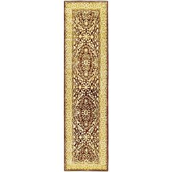 Safavieh Silk Road Collection SKR213G Handmade Maroon and Ivory New Zealand Wool Runner (2' ...