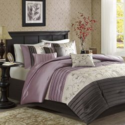Madison Park Serene Queen Size Bed Comforter Set Bed In A Bag – Purple, Embroidered – 7 Pi ...