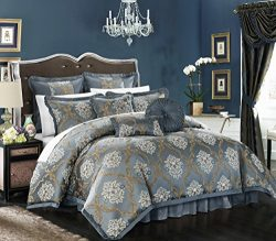 Chic Home 9 Piece Aubrey Decorator Upholstery Quality Jacquard Scroll Fabric Bedroom Comforter S ...