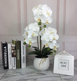 Tall Artificial Flowers with Vase,Realistic Silk Orchid in Ceramic Pot,Three Stems Large Artific ...
