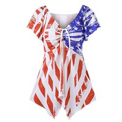 Womens Chic T-shirt, Toponly Women Print Mixed Color National Flag Bow Tie Top Casual Milk Silk  ...