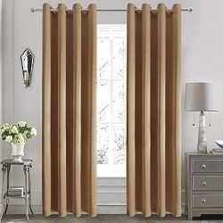 DWCN Faux Silk Moderate Blackout Curtains Room Darkening Yarn Dyed Gold Brown Grommets Window Cu ...