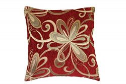 Violet Linen Chenille Chateau Vintage Floral Design Decorative Cushion Cover, 18″ x 18&#82 ...