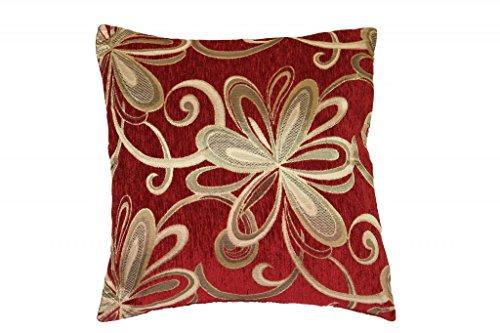 Violet Linen Chenille Chateau Vintage Floral Design Decorative Cushion Cover, 18″ x 18&#82 ...