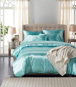 Turquoise Bedding Silk Like Satin Duvet Cover Set Solid Bedding Turquoise Blue Bedding Sets Twin ...