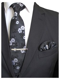 JEMYGINS Silk Black White Floral Necktie and Pocket Square, Hankerchief and Tie Bar Clip Sets fo ...