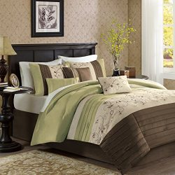Madison Park Serene King Size Bed Comforter Set Bed In A Bag – Green, Embroidered – 7 Piec ...