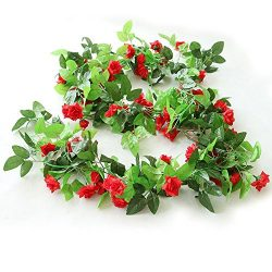 Y's Spring Blossoms 96 Inch Rose Vine Silk Flower Garland Artificial Flowers Plants Leaf V ...