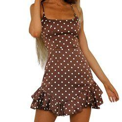 Clearance Sale! Wintialy Women Back Bow Dot Printing Sleeveless Mini Dress Summer Beach Dress