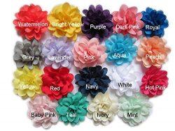 YYCRAFT Pack Of 38 Satin Silk Flower 2″ Hair Flower Headband-19 Colors