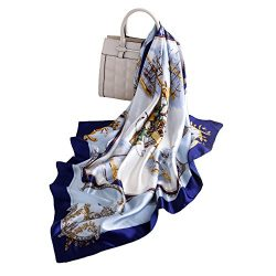 Women's 100% Mulberry Silk Scarf Ladies Fashion Pattern Satin Headscarf Lightweight Floral ...