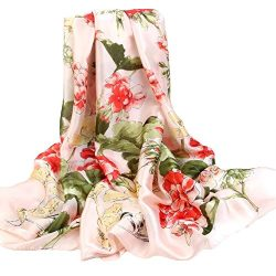 Silk Scarf Large Satin Headscarf Fashion Flower Wrap Shawl Scarves for Women Pink