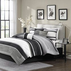 Madison Park Blaire Cal King Size Bed Comforter Set Bed In A Bag – Grey, Stripe – 7 Pieces ...