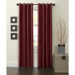 MAYTEX Jardin Thermal Blackout Room Darkening Faux Silk Embroidered Single Panel Grommet Window  ...