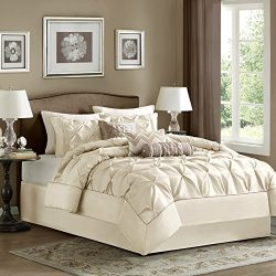 Madison Park Laurel King Size Bed Comforter Set Bed In A Bag – Ivory, Wrinkle Tufted Pleat ...
