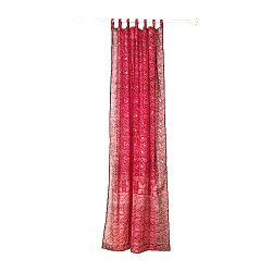 RED Curtain, Burgundy Red and Maroon Border, SARI Curtain, 84″Long panel, FREE GIFT Silk T ...