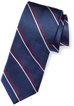 Buttoned Down Men's Classic Silk 3″ Necktie, Navy/Red Thin Stripe (Contrast Tail: Do ...