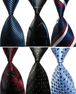 Wehug Lot 6 PCS Men's Ties 100% Silk Tie Woven Necktie Jacquard Neck Ties style001