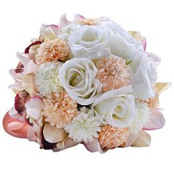 Abbie Home Bride Bouquets – 9″ Artificial Wedding Flower Roses Toss Holding bouquet  ...