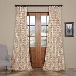HPD HALF PRICE DRAPES Ptpch-170803C-84 Tiera Printed Faux Silk Taffeta Blackout Curtain, 50 x 84 ...