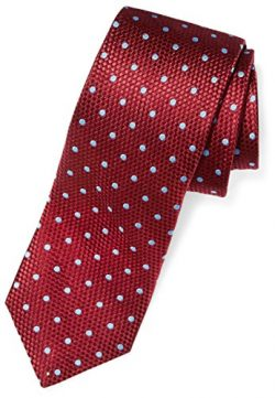 Buttoned Down Men's Classic Silk 3″ Necktie, burgundy/light blue Dot (Contrast Tail: ...