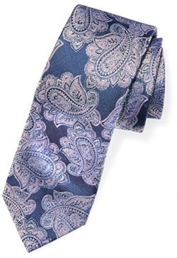 Buttoned Down Men's Classic Silk 3″ Necktie, Navy/Pink Paisley, X-Long