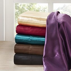 Madison Park Satin Silk Sheets, Casual Silk Bed Sheets Full, Hotel Sheets 6-Piece Include Flat S ...