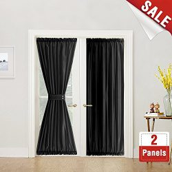 French Door Curtain Panels 72 inches Long Curtains for French Doors Faux Silk Dupioni French Doo ...