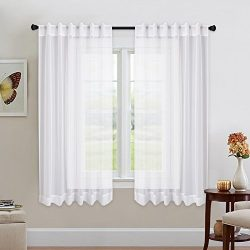 NICETOWN Kitchen Window White Sheer Curtains – High Thread Sheer Voile Draperies/Drapes Wi ...