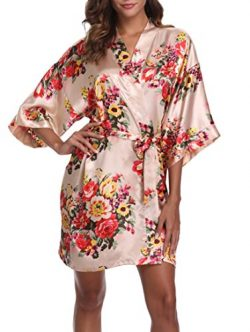 1stmall Floral Satin Kimono Short Style Bridesmaids Robes for Women, Champagne S