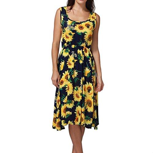 Wintialy Women Summer Sexy Print Off Shoulder Sleeveless Dress Princess Dress