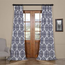 HPD HALF PRICE DRAPES Ptpch-170805A-84 Royal Printed Faux Silk Taffeta Blackout Curtain, 50 x 84 ...