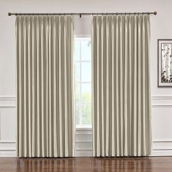 ChadMade Soundproof Energy Saving Polyester Cotton Silk Solid Curtain Beige 120″ W x 84&#8 ...