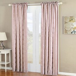 Home Soft Things Serenta Doris Diamond Embroidery Light Reducing Faux Silk Curtain, 2 Piece Wind ...