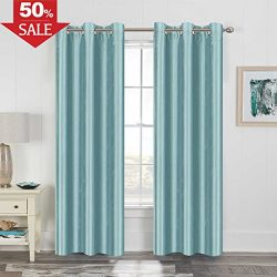 Bedroom Curtain Energy Efficient Home Fashion Drape Light Dimming Faux Silk Panel for Living Roo ...