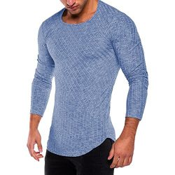HGWXX7 Men's Fashion Solid O Neck Long Sleeve Muscle Tee T-Shirt Tops Blouse (XXL, Blue)