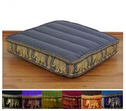 LivAsia Colourful Meditation Cushion 20x20x3 inches (LxWxH) in Silk Look for Yoga filled with 10 ...