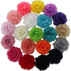 QingHan Little Girls' 3.5″ Chiffon Silk DIY Rosette Wedding Flowers Hair Clips Bows  ...