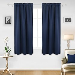 Deconovo Room Darkening Rod Pocket Thermal Insulated Blackout Curtains for French Doors 52 x 63  ...