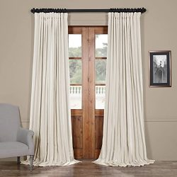 HPD HALF PRICE DRAPES PDCH-KBS2BO-84-DW Blackout Extra Wide Vintage Faux Dupioni Curtain, Off Wh ...