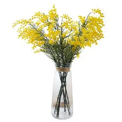 Htmeing 4pcs Mimosa Artificial Silk Flowers Fake Plants Branches Spray Pudica Acacia Bouquet Hom ...