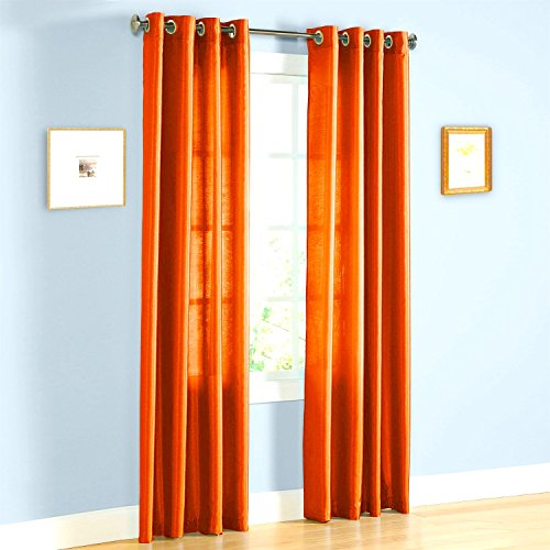 Gorgeous Home (MIRA)2 PANELS SOLID GROMMET FAUX SILK WINDOW CURTAIN DRAPES TREATMENT IN 63″ ...